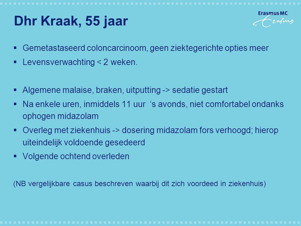 Dhr Kraak, 55 jaar  Gemetastaseerd coloncarcinoom, geen ziektegerichte opties meer  Levensverwachting < 2 weken.  Algemene malaise, braken, uitputt
