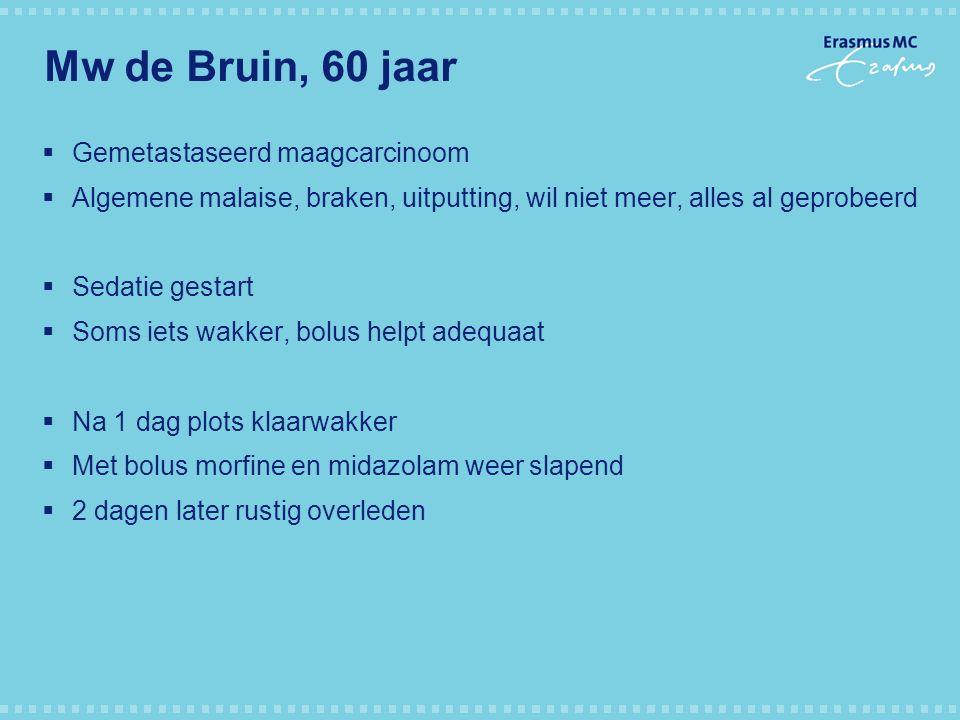 Mw de Bruin, 60 jaar  Gemetastaseerd maagcarcinoom  Algemene malaise, braken, uitputting, wil niet meer, alles al geprobeerd  Sedatie gestart  Som