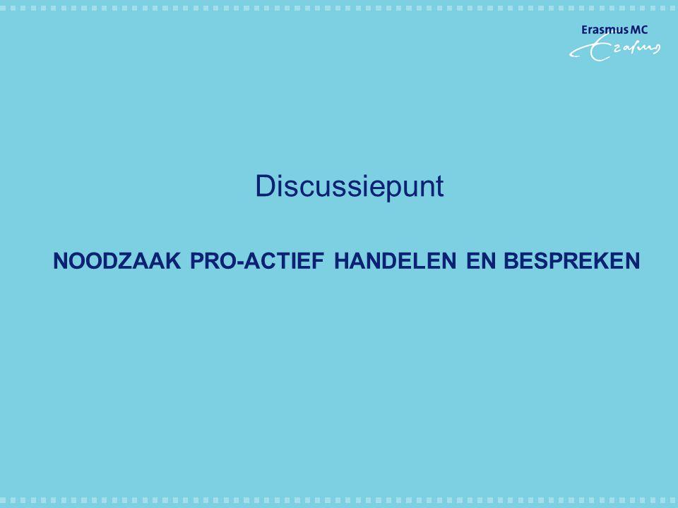 NOODZAAK PRO-ACTIEF HANDELEN EN BESPREKEN Discussiepunt
