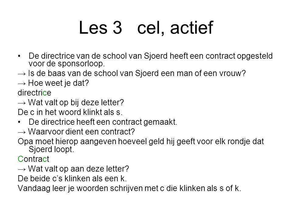 Les 3cel, actief De directrice van de school van Sjoerd heeft een contract opgesteld voor de sponsorloop.