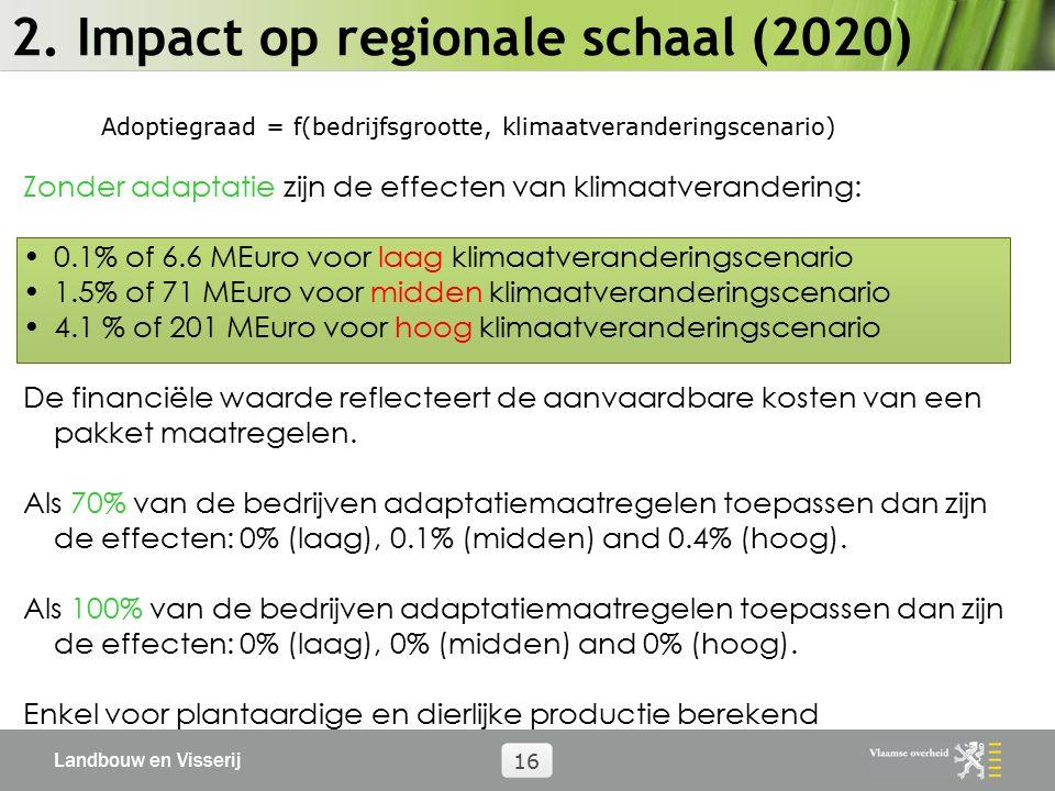 Landbouw en Visserij 16 2. Impact op regionale schaal (2020) Adoptiegraad = f(bedrijfsgrootte, klimaatveranderingscenario) Zonder adaptatie zijn de ef
