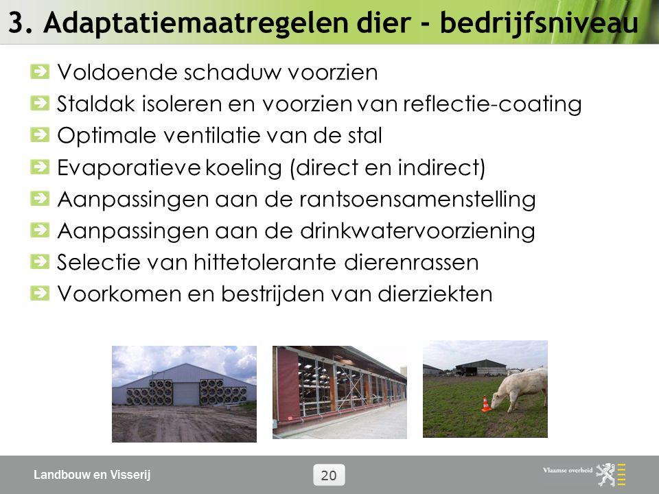 Landbouw en Visserij 20 3. Adaptatiemaatregelen dier - bedrijfsniveau Voldoende schaduw voorzien Staldak isoleren en voorzien van reflectie-coating Op