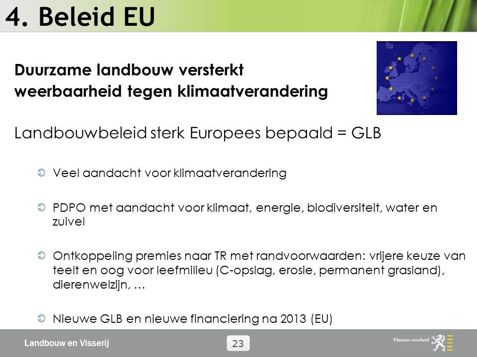 Landbouw en Visserij 23 4. Beleid EU Duurzame landbouw versterkt weerbaarheid tegen klimaatverandering Landbouwbeleid sterk Europees bepaald = GLB Vee
