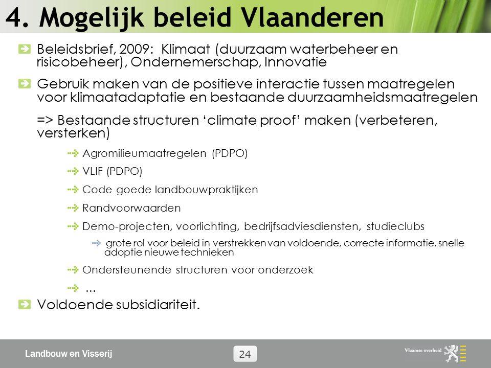 Landbouw en Visserij 24 4. Mogelijk beleid Vlaanderen Beleidsbrief, 2009: Klimaat (duurzaam waterbeheer en risicobeheer), Ondernemerschap, Innovatie G