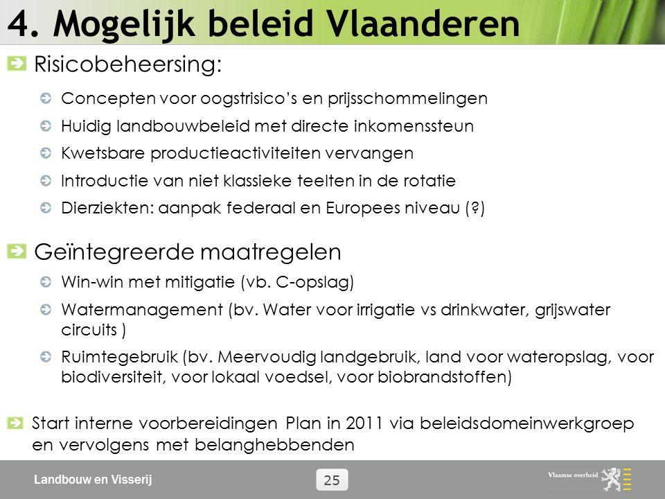 Landbouw en Visserij 25 4. Mogelijk beleid Vlaanderen Risicobeheersing: Concepten voor oogstrisico's en prijsschommelingen Huidig landbouwbeleid met d