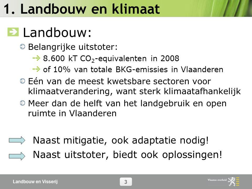 Landbouw en Visserij 3 1. Landbouw en klimaat Landbouw: Belangrijke uitstoter: 8.600 kT CO 2 -equivalenten in 2008 of 10% van totale BKG-emissies in V