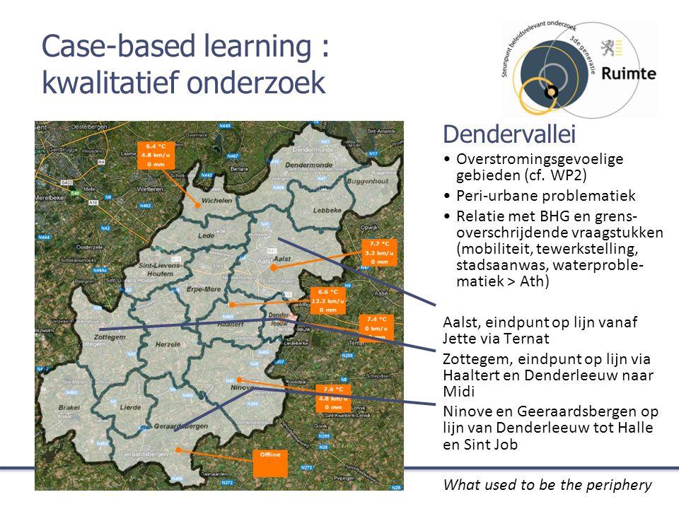 Case-based learning : kwalitatief onderzoek Dendervallei Overstromingsgevoelige gebieden (cf. WP2) Peri-urbane problematiek Relatie met BHG en grens-