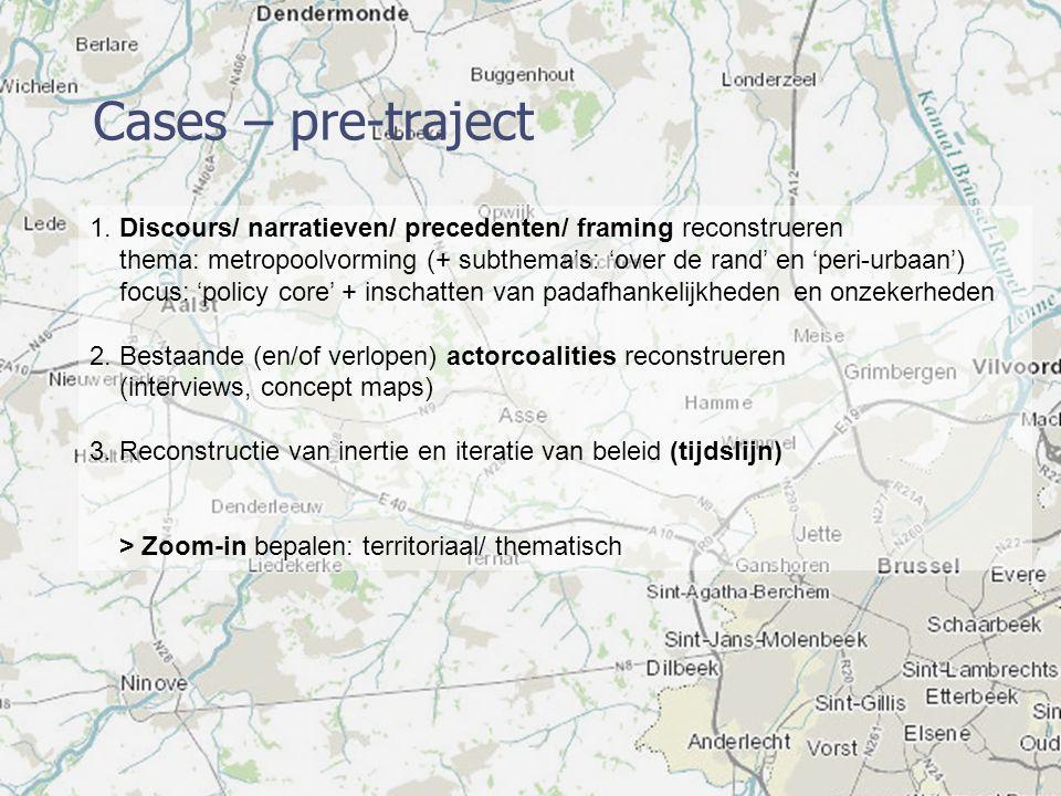 Cases – pre-traject 1. Discours/ narratieven/ precedenten/ framing reconstrueren thema: metropoolvorming (+ subthema's: 'over de rand' en 'peri-urbaan