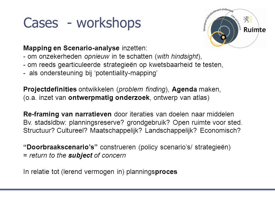 Cases - workshops Mapping en Scenario-analyse inzetten: - om onzekerheden opnieuw in te schatten (with hindsight), - om reeds gearticuleerde strategieën op kwetsbaarheid te testen, - als ondersteuning bij 'potentiality-mapping' Projectdefinities ontwikkelen (problem finding), Agenda maken, (o.a.