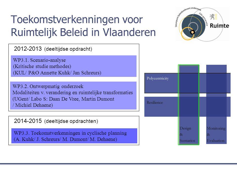 2012-2013 (deeltijdse opdracht) 2014-2015 (deeltijdse opdrachten) Toekomstverkenningen voor Ruimtelijk Beleid in Vlaanderen WP3.1. Scenario-analyse (K