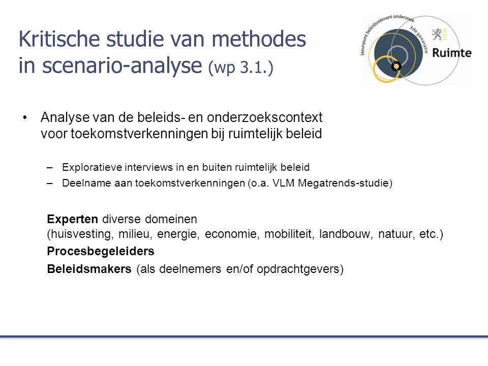 Kritische studie van methodes in scenario-analyse (wp 3.1.) Analyse van de beleids- en onderzoekscontext voor toekomstverkenningen bij ruimtelijk beleid –Exploratieve interviews in en buiten ruimtelijk beleid –Deelname aan toekomstverkenningen (o.a.