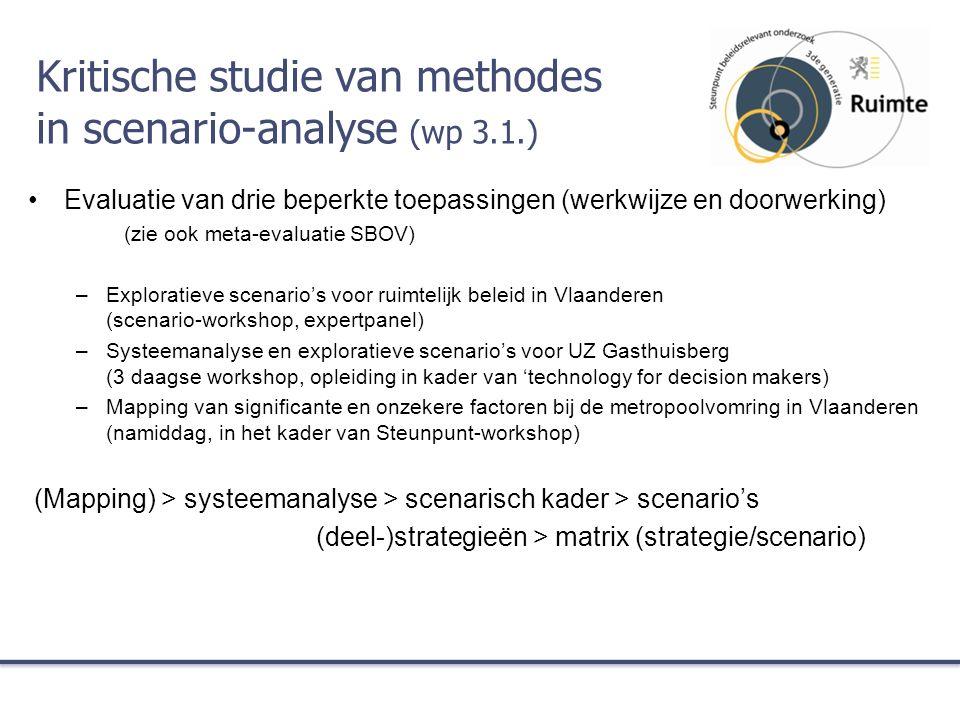 Kritische studie van methodes in scenario-analyse (wp 3.1.) Evaluatie van drie beperkte toepassingen (werkwijze en doorwerking) (zie ook meta-evaluatie SBOV) –Exploratieve scenario's voor ruimtelijk beleid in Vlaanderen (scenario-workshop, expertpanel) –Systeemanalyse en exploratieve scenario's voor UZ Gasthuisberg (3 daagse workshop, opleiding in kader van 'technology for decision makers) –Mapping van significante en onzekere factoren bij de metropoolvomring in Vlaanderen (namiddag, in het kader van Steunpunt-workshop) (Mapping) > systeemanalyse > scenarisch kader > scenario's (deel-)strategieën > matrix (strategie/scenario)