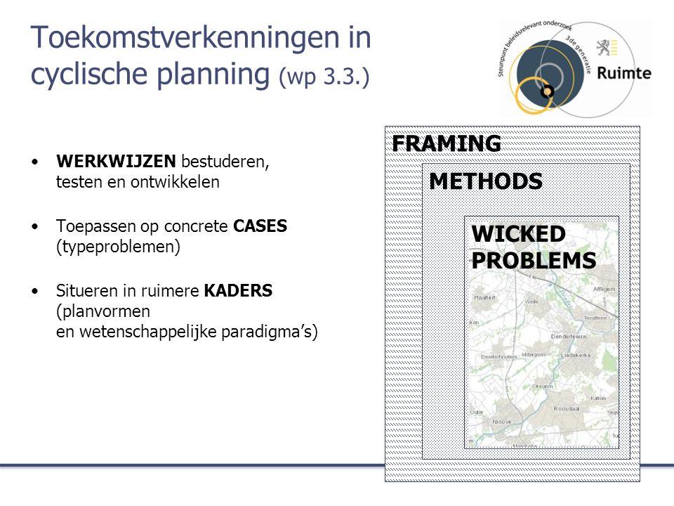 Toekomstverkenningen in cyclische planning (wp 3.3.) WERKWIJZEN bestuderen, testen en ontwikkelen Toepassen op concrete CASES (typeproblemen) Situeren in ruimere KADERS (planvormen en wetenschappelijke paradigma's) FRAMING METHODS WICKED PROBLEMS