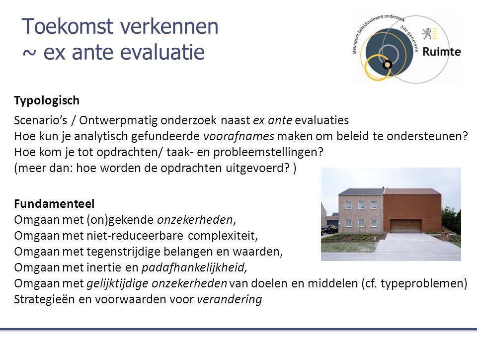 Toekomst verkennen ~ ex ante evaluatie Typologisch Scenario's / Ontwerpmatig onderzoek naast ex ante evaluaties Hoe kun je analytisch gefundeerde voorafnames maken om beleid te ondersteunen.