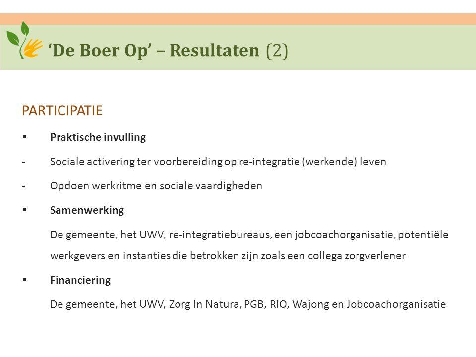 'De Boer Op' – Resultaten (2) PARTICIPATIE  Praktische invulling ‐Sociale activering ter voorbereiding op re-integratie (werkende) leven ‐Opdoen werk