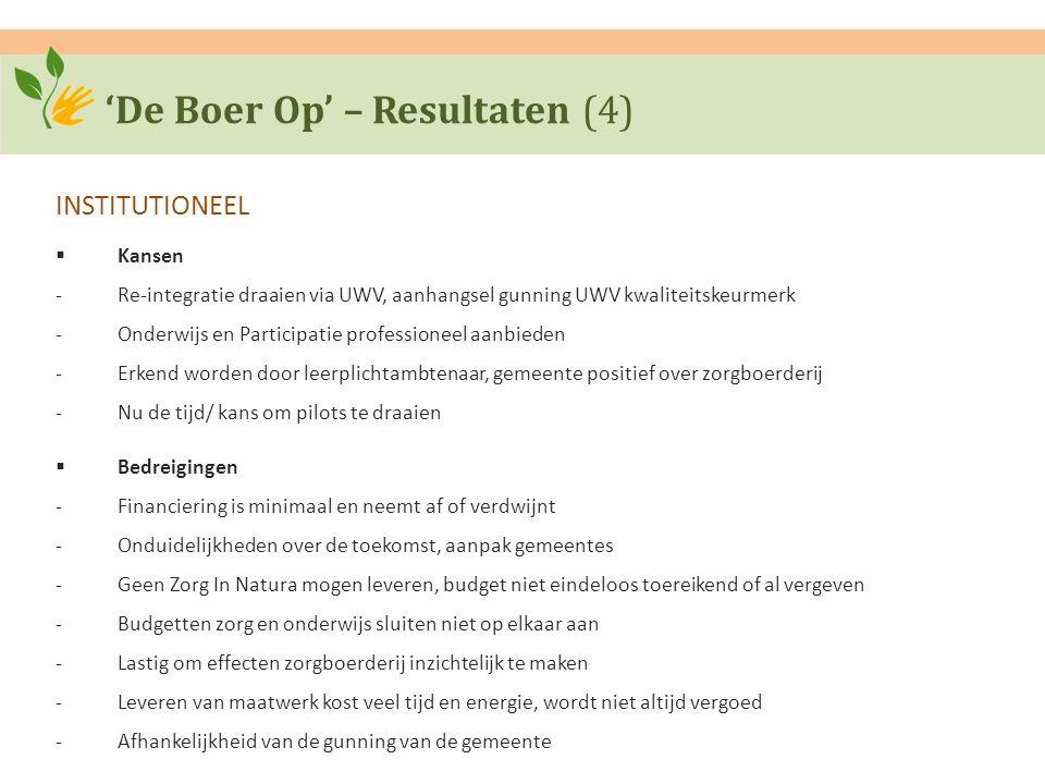 'De Boer Op' – Resultaten (4) INSTITUTIONEEL  Kansen ‐Re-integratie draaien via UWV, aanhangsel gunning UWV kwaliteitskeurmerk ‐Onderwijs en Particip
