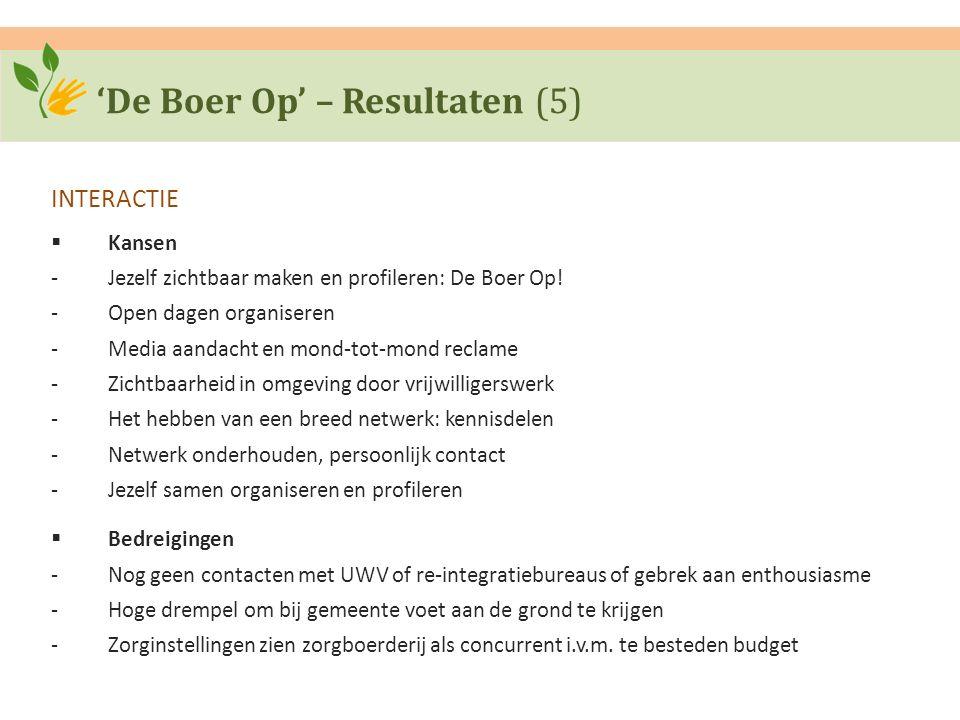 'De Boer Op' – Resultaten (5) INTERACTIE  Kansen ‐Jezelf zichtbaar maken en profileren: De Boer Op! ‐Open dagen organiseren ‐Media aandacht en mond-t