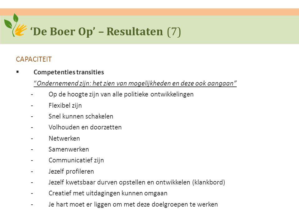 """'De Boer Op' – Resultaten (7) CAPACITEIT  Competenties transities """"Ondernemend zijn: het zien van mogelijkheden en deze ook aangaan"""" ‐Op de hoogte zi"""