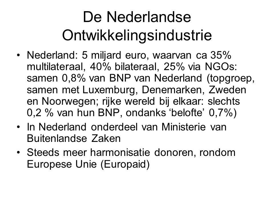 De Nederlandse Ontwikkelingsindustrie Nederland: 5 miljard euro, waarvan ca 35% multilateraal, 40% bilateraal, 25% via NGOs: samen 0,8% van BNP van Nederland (topgroep, samen met Luxemburg, Denemarken, Zweden en Noorwegen; rijke wereld bij elkaar: slechts 0,2 % van hun BNP, ondanks 'belofte' 0,7%) In Nederland onderdeel van Ministerie van Buitenlandse Zaken Steeds meer harmonisatie donoren, rondom Europese Unie (Europaid)