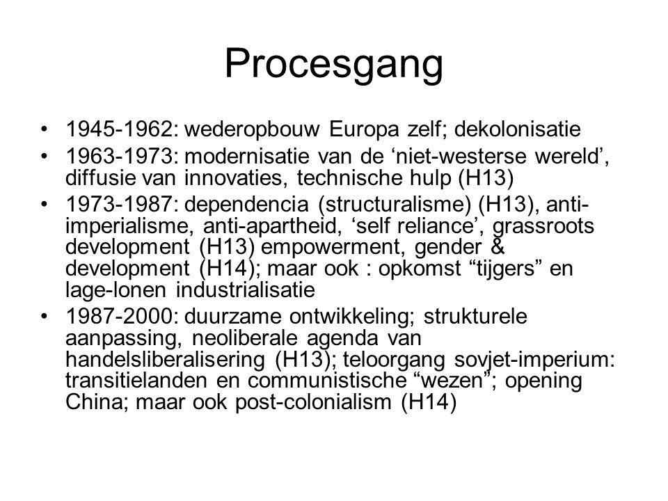 Procesgang 1945-1962: wederopbouw Europa zelf; dekolonisatie 1963-1973: modernisatie van de 'niet-westerse wereld', diffusie van innovaties, technische hulp (H13) 1973-1987: dependencia (structuralisme) (H13), anti- imperialisme, anti-apartheid, 'self reliance', grassroots development (H13) empowerment, gender & development (H14); maar ook : opkomst tijgers en lage-lonen industrialisatie 1987-2000: duurzame ontwikkeling; strukturele aanpassing, neoliberale agenda van handelsliberalisering (H13); teloorgang sovjet-imperium: transitielanden en communistische wezen ; opening China; maar ook post-colonialism (H14)