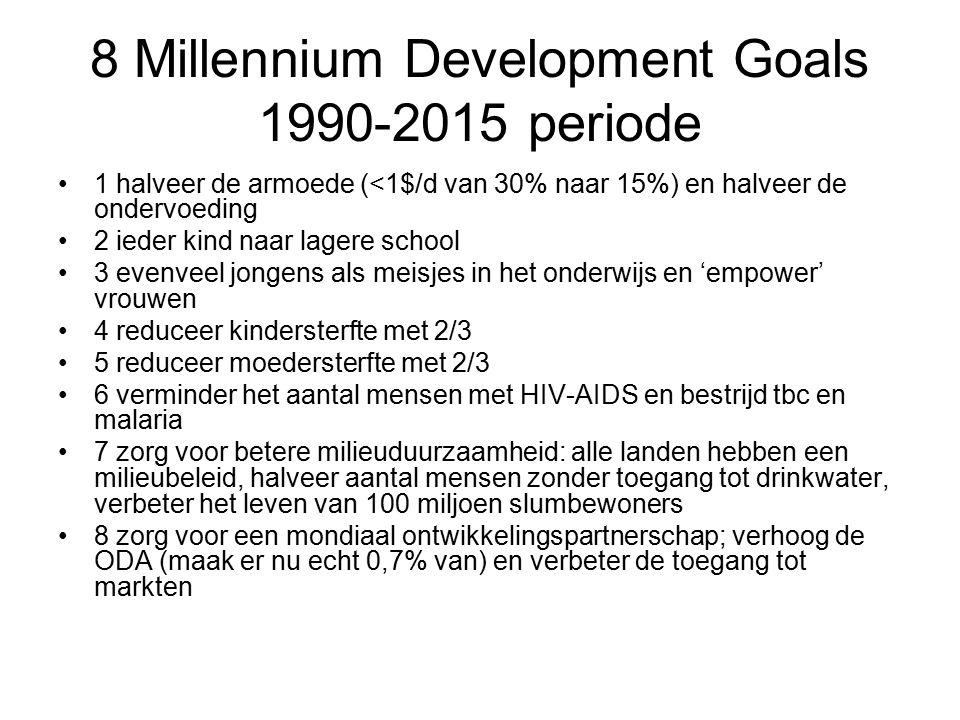 8 Millennium Development Goals 1990-2015 periode 1 halveer de armoede (<1$/d van 30% naar 15%) en halveer de ondervoeding 2 ieder kind naar lagere school 3 evenveel jongens als meisjes in het onderwijs en 'empower' vrouwen 4 reduceer kindersterfte met 2/3 5 reduceer moedersterfte met 2/3 6 verminder het aantal mensen met HIV-AIDS en bestrijd tbc en malaria 7 zorg voor betere milieuduurzaamheid: alle landen hebben een milieubeleid, halveer aantal mensen zonder toegang tot drinkwater, verbeter het leven van 100 miljoen slumbewoners 8 zorg voor een mondiaal ontwikkelingspartnerschap; verhoog de ODA (maak er nu echt 0,7% van) en verbeter de toegang tot markten