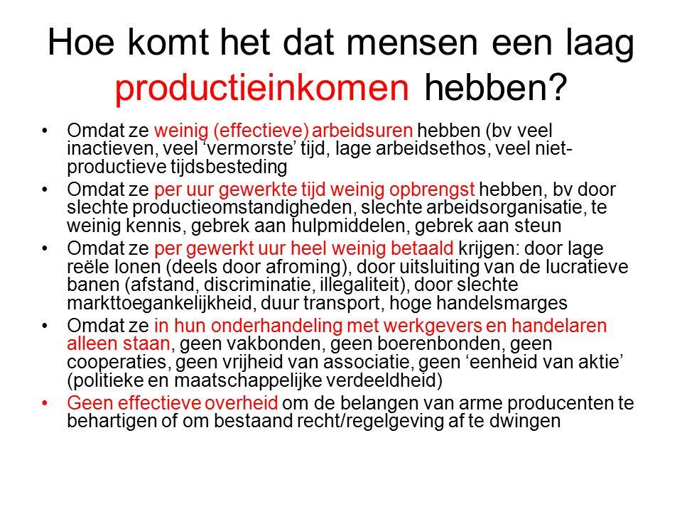 Hoe komt het dat mensen een laag productieinkomen hebben.