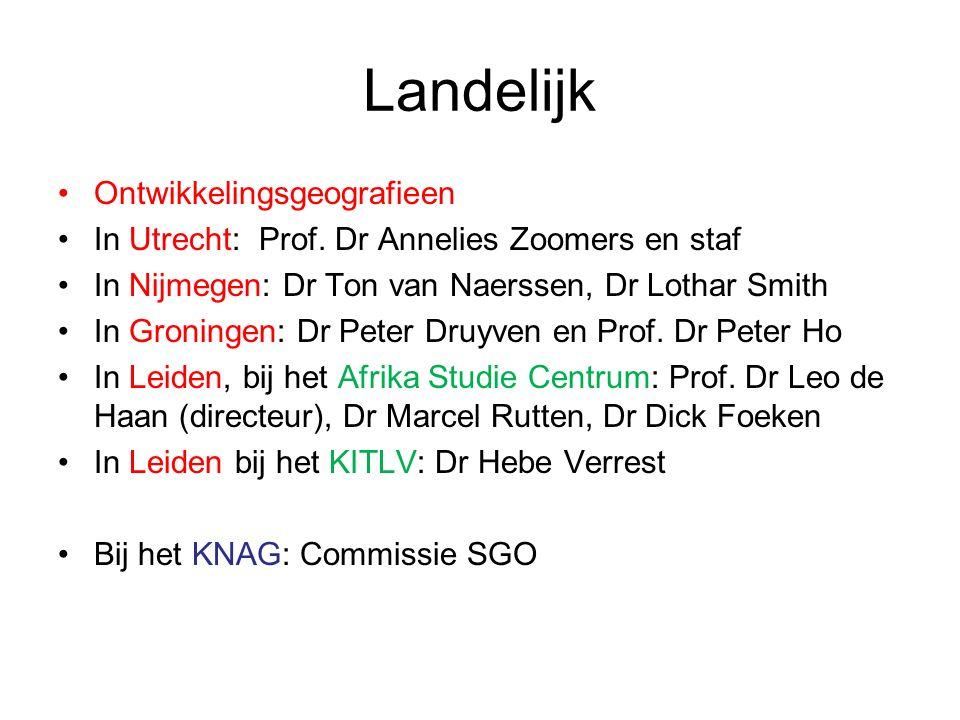 Landelijk Ontwikkelingsgeografieen In Utrecht: Prof.
