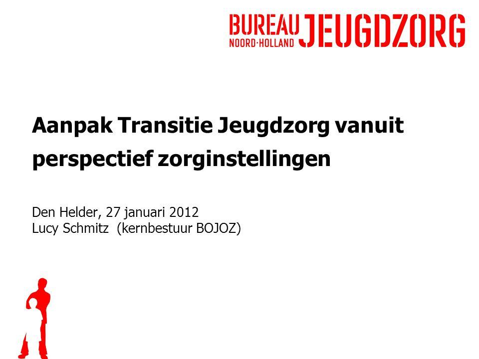 Aanpak Transitie Jeugdzorg vanuit perspectief zorginstellingen Den Helder, 27 januari 2012 Lucy Schmitz (kernbestuur BOJOZ)