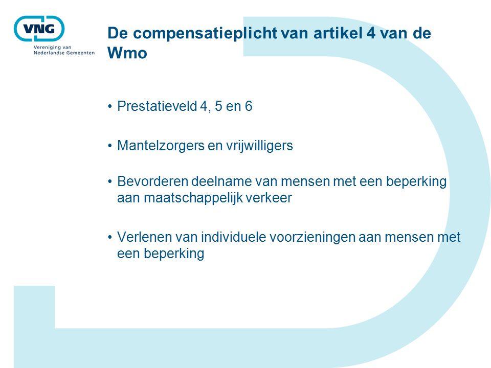 De compensatieplicht van artikel 4 van de Wmo Prestatieveld 4, 5 en 6 Mantelzorgers en vrijwilligers Bevorderen deelname van mensen met een beperking aan maatschappelijk verkeer Verlenen van individuele voorzieningen aan mensen met een beperking