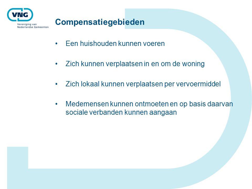 Compensatiegebieden Een huishouden kunnen voeren Zich kunnen verplaatsen in en om de woning Zich lokaal kunnen verplaatsen per vervoermiddel Medemensen kunnen ontmoeten en op basis daarvan sociale verbanden kunnen aangaan