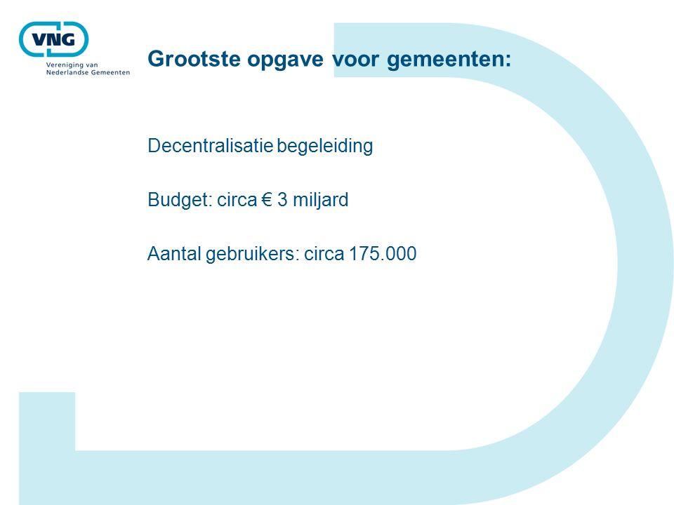 Grootste opgave voor gemeenten: Decentralisatie begeleiding Budget: circa € 3 miljard Aantal gebruikers: circa 175.000