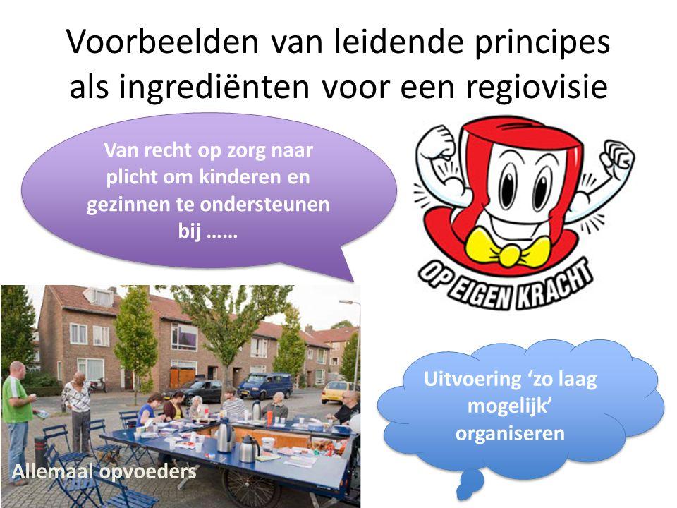 Voorbeelden van leidende principes als ingrediënten voor een regiovisie Allemaal opvoeders Uitvoering 'zo laag mogelijk' organiseren Van recht op zorg