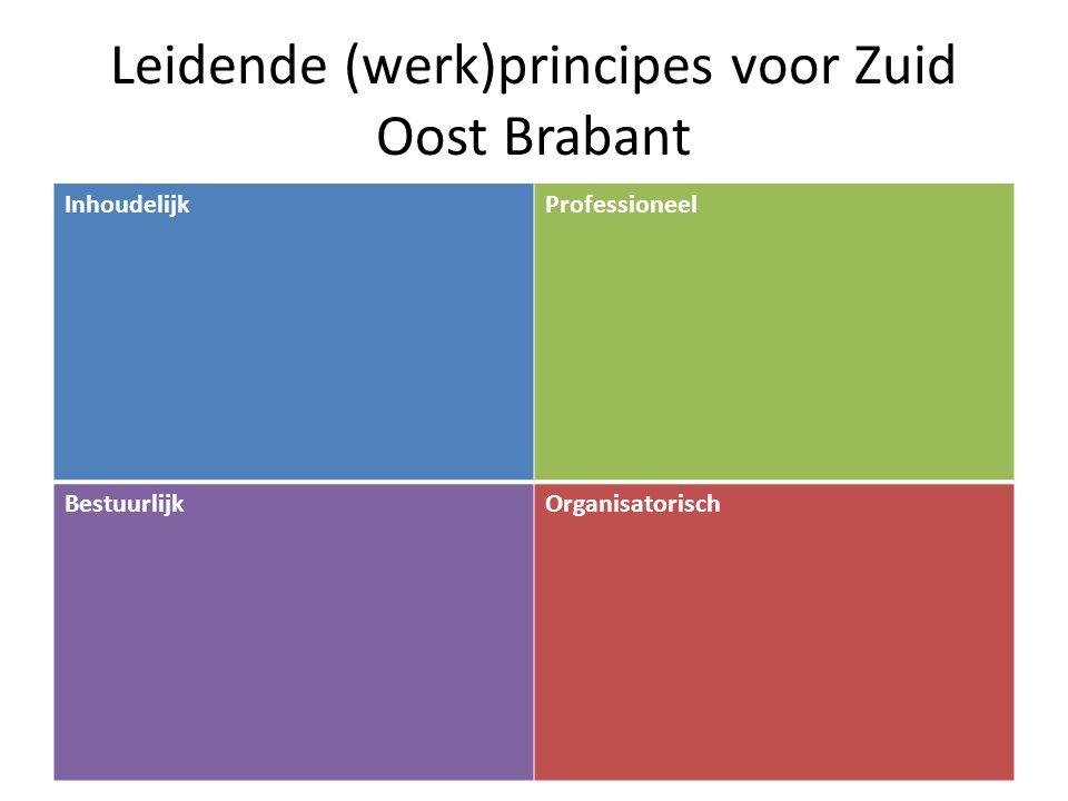 Leidende (werk)principes voor Zuid Oost Brabant InhoudelijkProfessioneel BestuurlijkOrganisatorisch