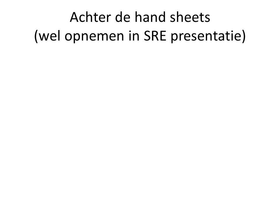 Achter de hand sheets (wel opnemen in SRE presentatie)