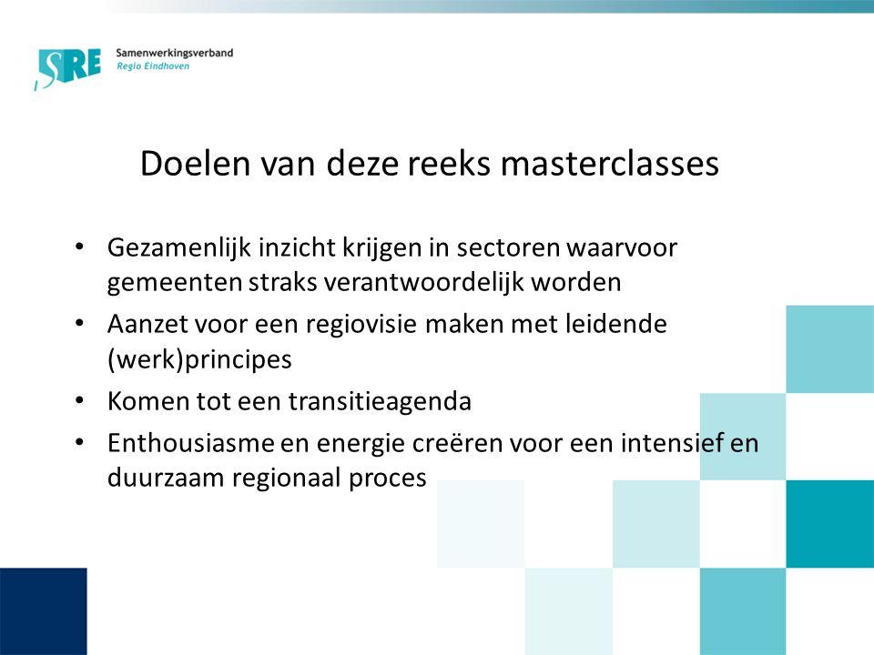 Doelen van deze reeks masterclasses Gezamenlijk inzicht krijgen in sectoren waarvoor gemeenten straks verantwoordelijk worden Aanzet voor een regiovisie maken met leidende (werk)principes Komen tot een transitieagenda Enthousiasme en energie creëren voor een intensief en duurzaam regionaal proces