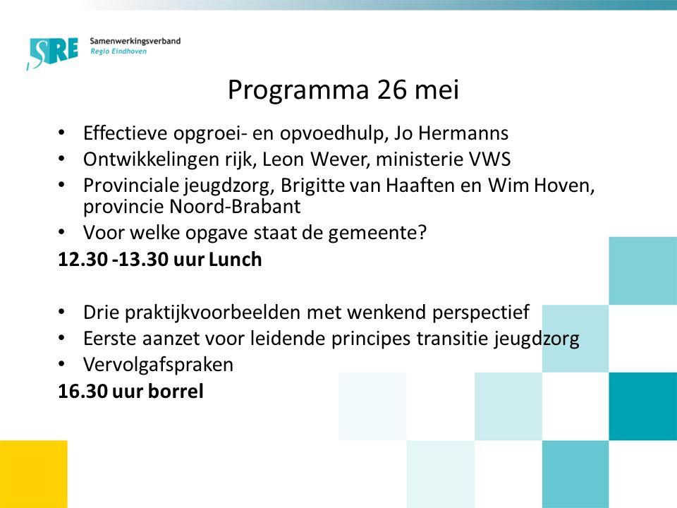 Programma 26 mei Effectieve opgroei- en opvoedhulp, Jo Hermanns Ontwikkelingen rijk, Leon Wever, ministerie VWS Provinciale jeugdzorg, Brigitte van Ha