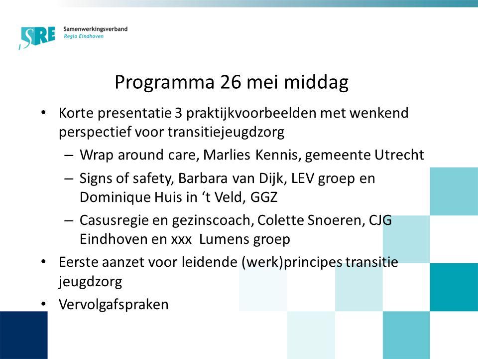 Programma 26 mei middag Korte presentatie 3 praktijkvoorbeelden met wenkend perspectief voor transitiejeugdzorg – Wrap around care, Marlies Kennis, ge