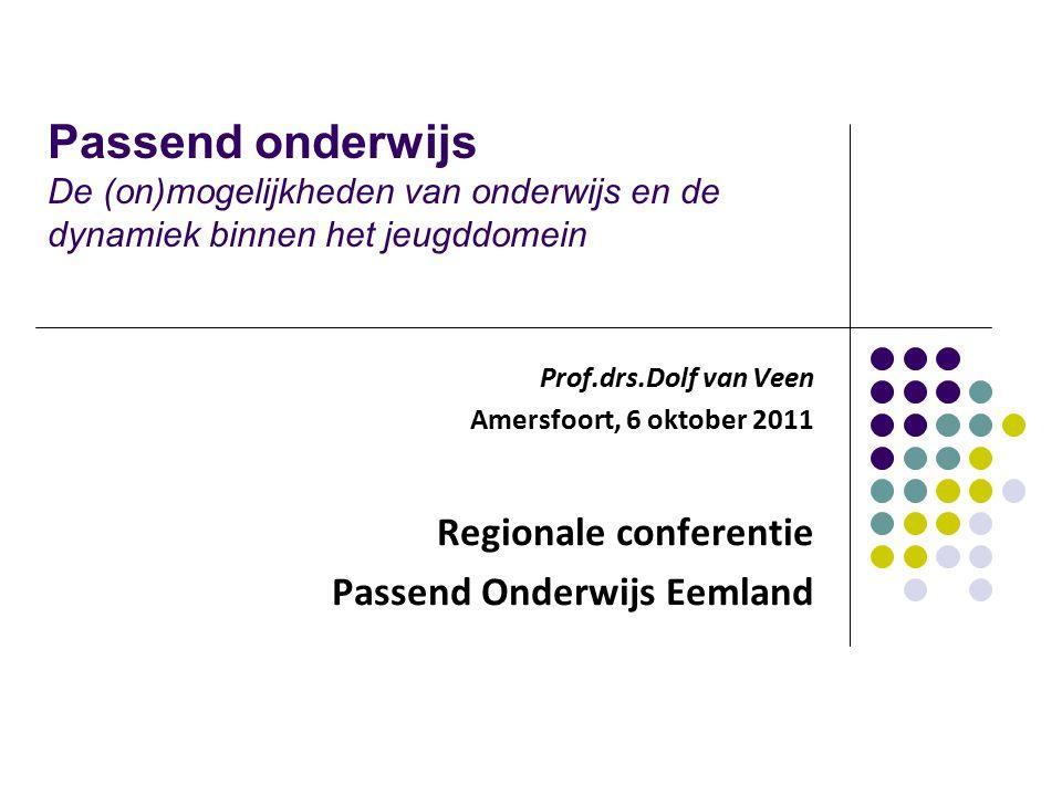 Passend onderwijs De (on)mogelijkheden van onderwijs en de dynamiek binnen het jeugddomein Prof.drs.Dolf van Veen Amersfoort, 6 oktober 2011 Regionale