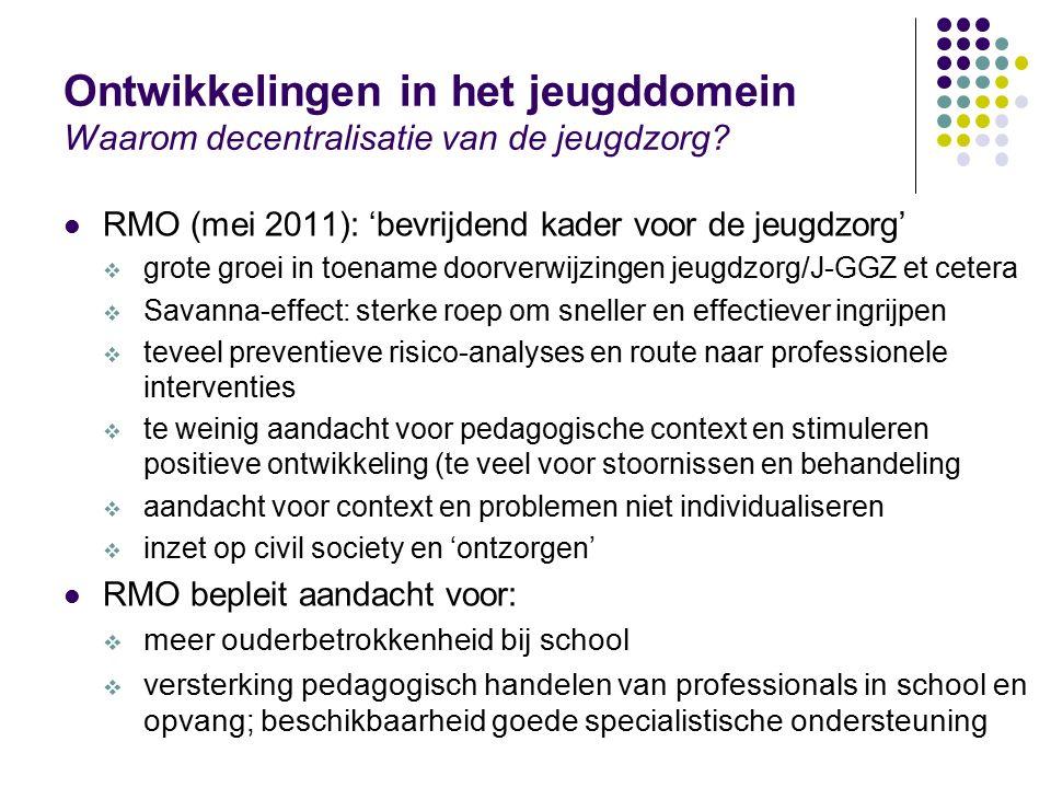 Ontwikkelingen in het jeugddomein Waarom decentralisatie van de jeugdzorg? RMO (mei 2011): 'bevrijdend kader voor de jeugdzorg'  grote groei in toena