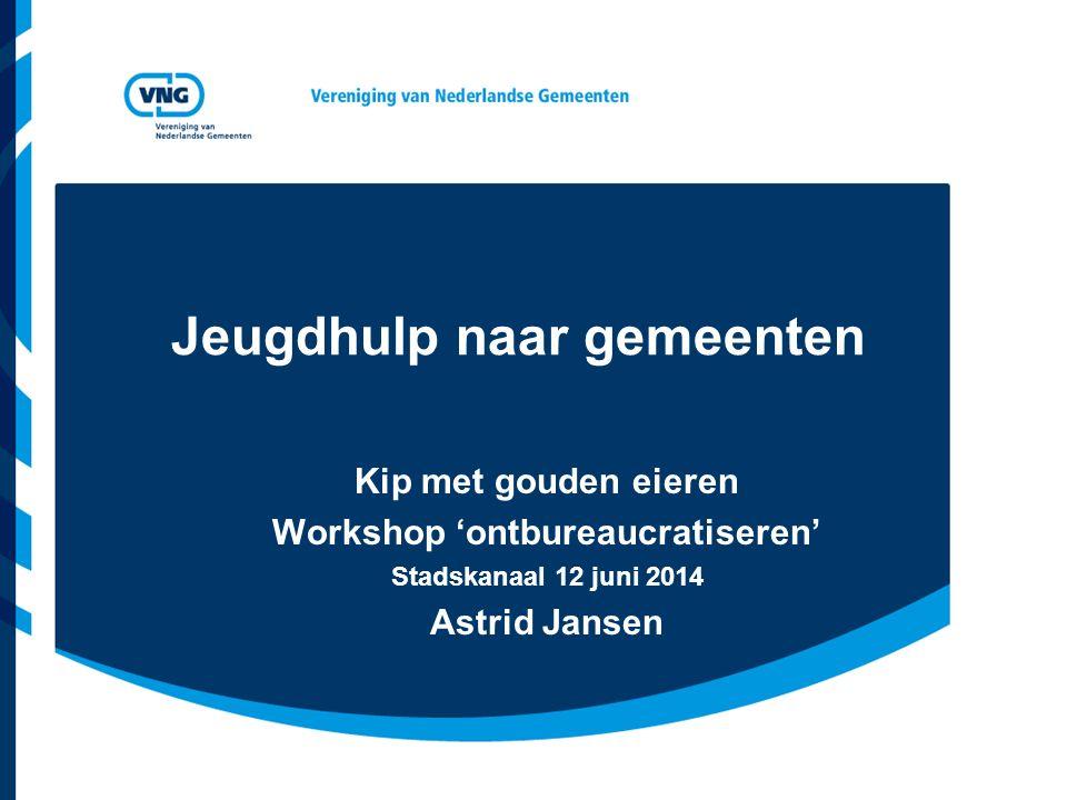 Jeugdhulp naar gemeenten Kip met gouden eieren Workshop 'ontbureaucratiseren' Stadskanaal 12 juni 2014 Astrid Jansen