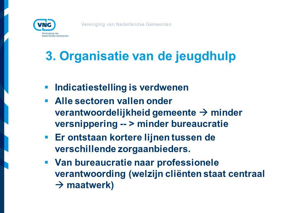 Vereniging van Nederlandse Gemeenten 3. Organisatie van de jeugdhulp  Indicatiestelling is verdwenen  Alle sectoren vallen onder verantwoordelijkhei