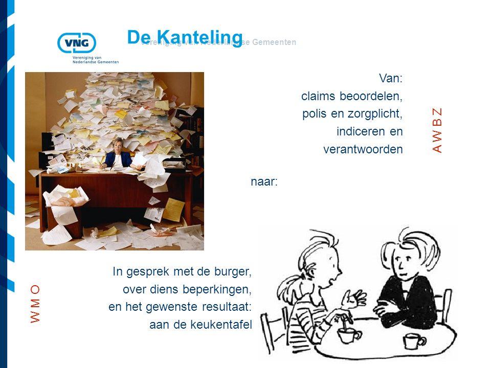 Vereniging van Nederlandse Gemeenten De Kanteling Van: claims beoordelen, polis en zorgplicht, indiceren en verantwoorden naar: In gesprek met de burger, over diens beperkingen, en het gewenste resultaat: aan de keukentafel W M O A W B Z