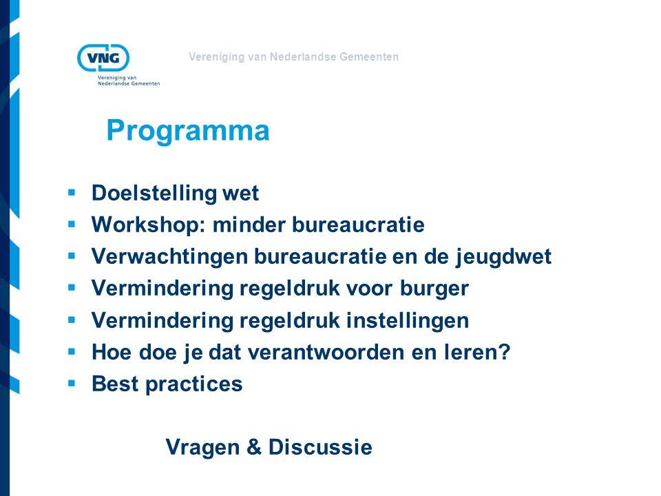Vereniging van Nederlandse Gemeenten Programma  Doelstelling wet  Workshop: minder bureaucratie  Verwachtingen bureaucratie en de jeugdwet  Vermindering regeldruk voor burger  Vermindering regeldruk instellingen  Hoe doe je dat verantwoorden en leren.