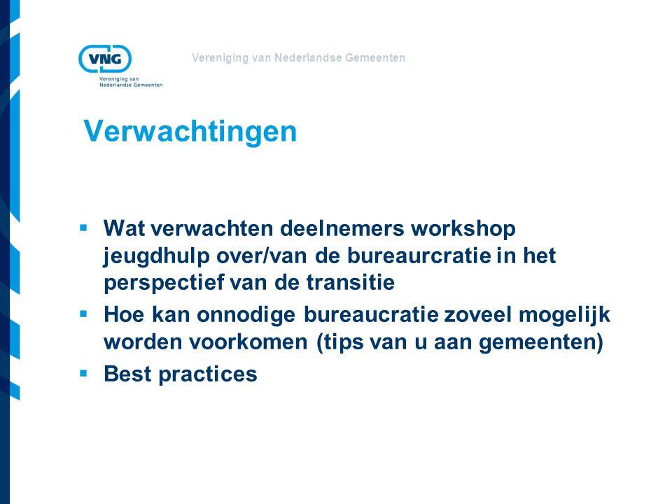 Vereniging van Nederlandse Gemeenten  Wat verwachten deelnemers workshop jeugdhulp over/van de bureaurcratie in het perspectief van de transitie  Hoe kan onnodige bureaucratie zoveel mogelijk worden voorkomen (tips van u aan gemeenten)  Best practices Verwachtingen