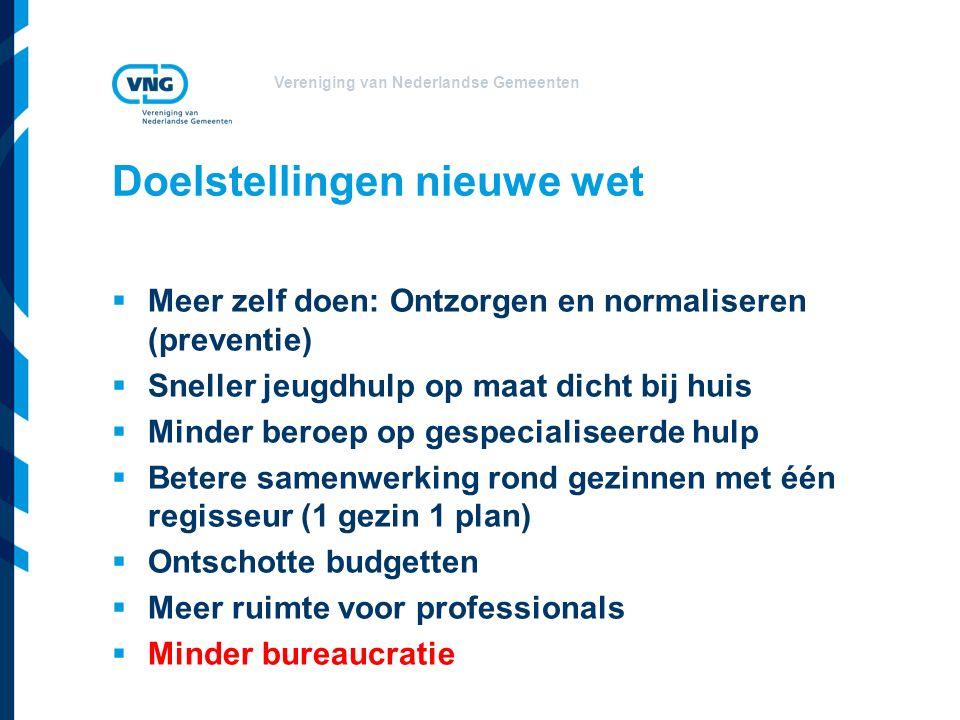 Vereniging van Nederlandse Gemeenten Doelstellingen nieuwe wet  Meer zelf doen: Ontzorgen en normaliseren (preventie)  Sneller jeugdhulp op maat dic