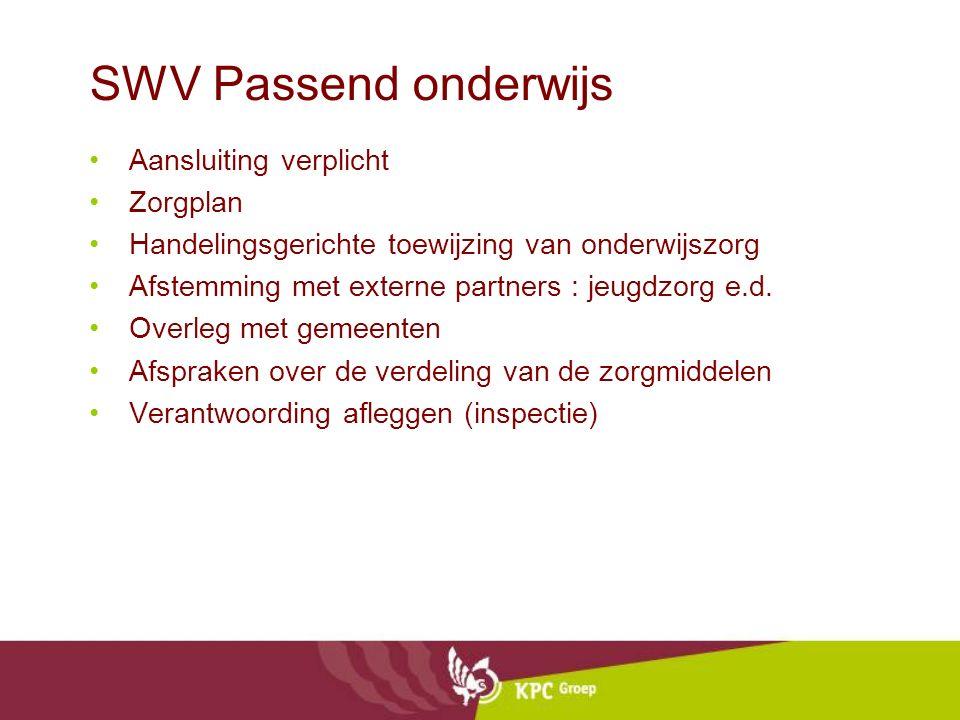 SWV Passend onderwijs Aansluiting verplicht Zorgplan Handelingsgerichte toewijzing van onderwijszorg Afstemming met externe partners : jeugdzorg e.d.