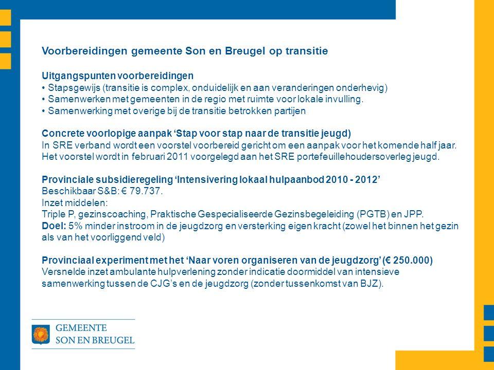Voorbereidingen gemeente Son en Breugel op transitie Uitgangspunten voorbereidingen Stapsgewijs (transitie is complex, onduidelijk en aan veranderingen onderhevig) Samenwerken met gemeenten in de regio met ruimte voor lokale invulling.