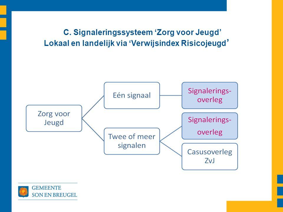 C. Signaleringssysteem 'Zorg voor Jeugd' Lokaal en landelijk via 'Verwijsindex Risicojeugd '