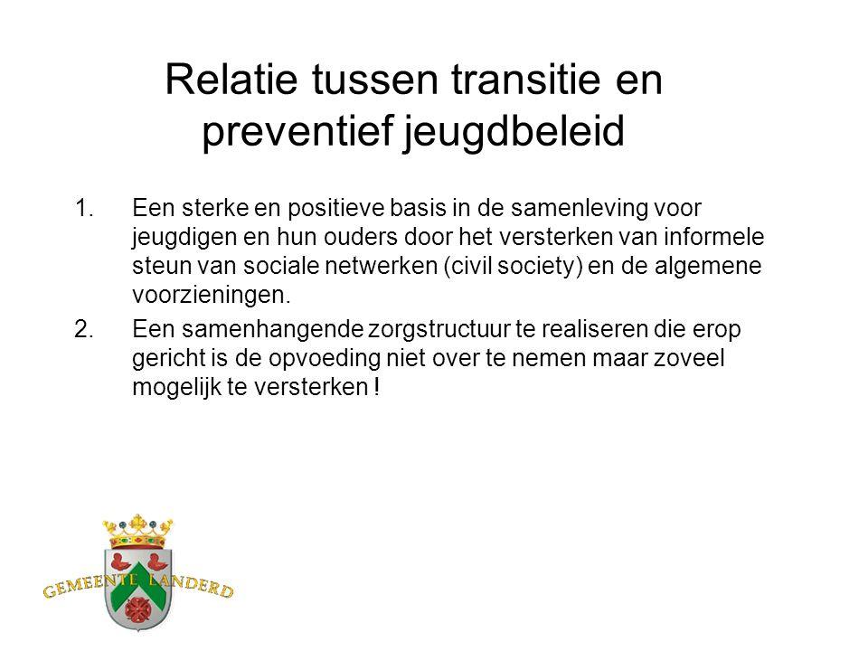 Relatie tussen transitie en preventief jeugdbeleid 1.Een sterke en positieve basis in de samenleving voor jeugdigen en hun ouders door het versterken van informele steun van sociale netwerken (civil society) en de algemene voorzieningen.