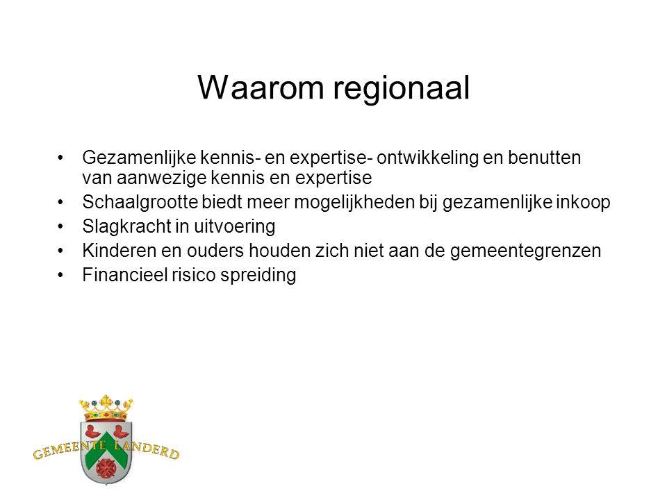 Waarom regionaal Gezamenlijke kennis- en expertise- ontwikkeling en benutten van aanwezige kennis en expertise Schaalgrootte biedt meer mogelijkheden